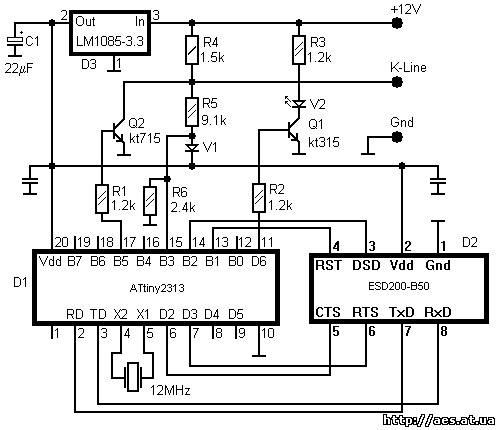 Схема USB k-line Адаптер