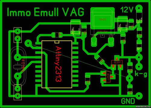 Поддерживает иммобилайзеры всех VAG с 92 по 2003 г. Устройство собрано на микроконтроллере Attiny 2313.